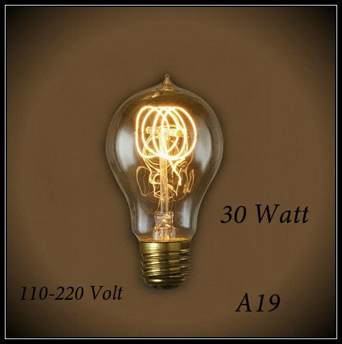 Vintage Quad Loop Filament A19 Bulb 30W