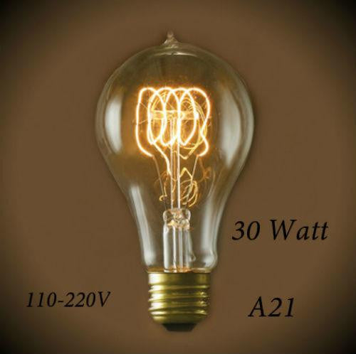 Vintage Quad Loop Filament A21 Bulb 30W