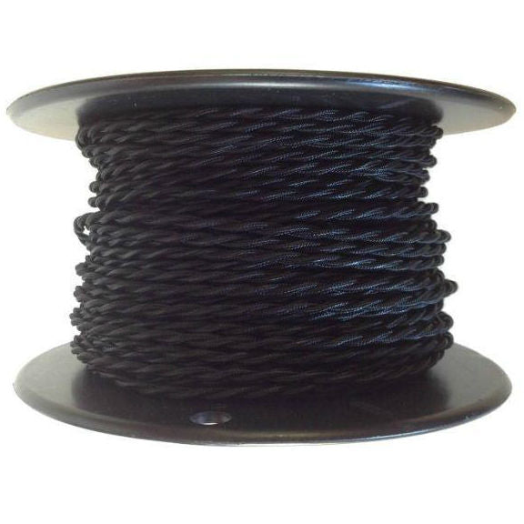 100 ft Black Twisted Rayon Covered Wire Antique Style Cloth Lamp Cord Spool