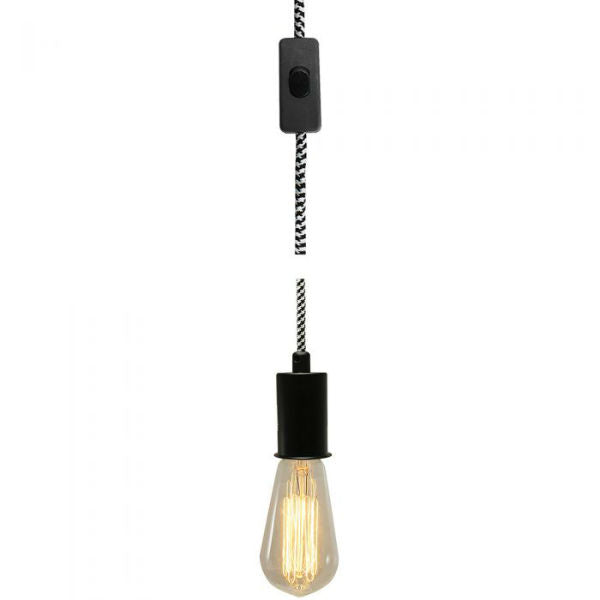 Plug-In Black & White Swag Lamp
