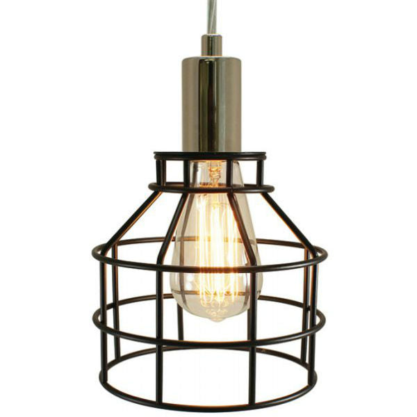 Plug-In Cage Pendant Lamp - Nickel and Black