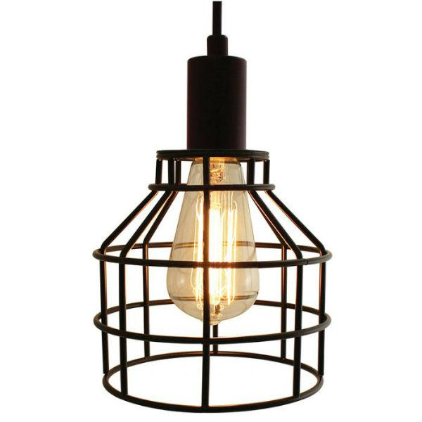 Swag Pendant Light With a Black Cage