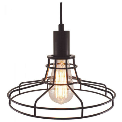 Plug-In Pendant Light With a Black Wide Cage