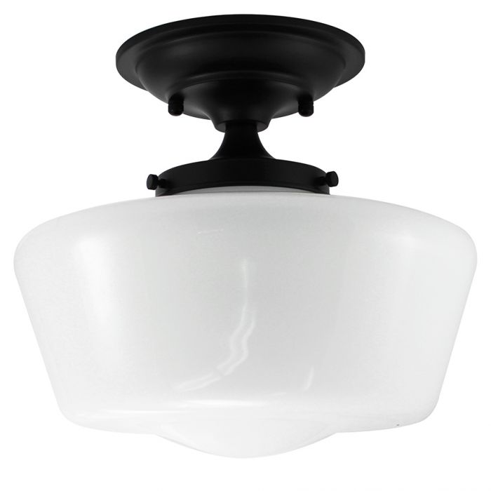 Schoolhouse Semi-Flush Black Finish Fixture