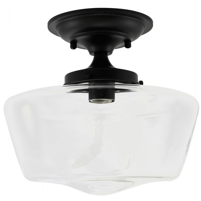 Semi-Flush Clear Glass Schoolhouse Black Fixture