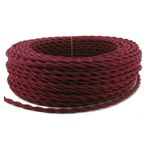 Burgundy Twisted cloth wire- Per ft.