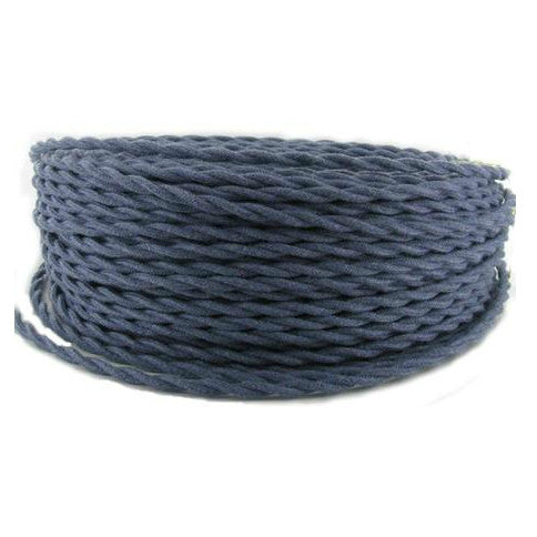 Denim Cotton Covered Twisted Wire- Per ft. - 18 AWG