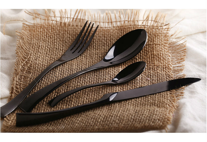 Jet Black Luxury Dinnerware - 4 Piece Set