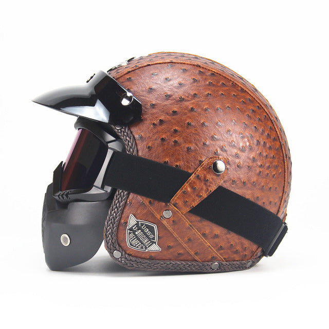 VINTAGE LEATHER MOTORCYCLE HELMET & FACE MASK