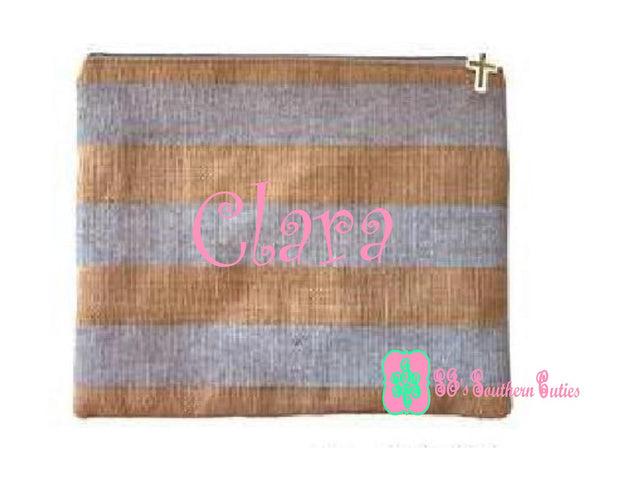 Monogrammed Sliver Stripe Burlap Bible Cover Pouch -CLOSEOUT - SJ's Southern Cuties