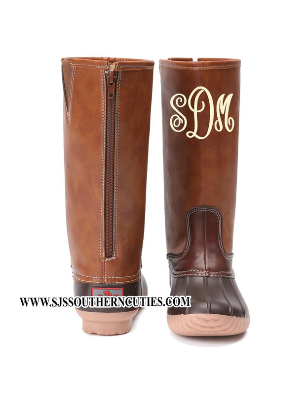 Pre- Order Monogrammed BROWN Tall Duck Boots- Zipper Back - SJ's Southern Cuties