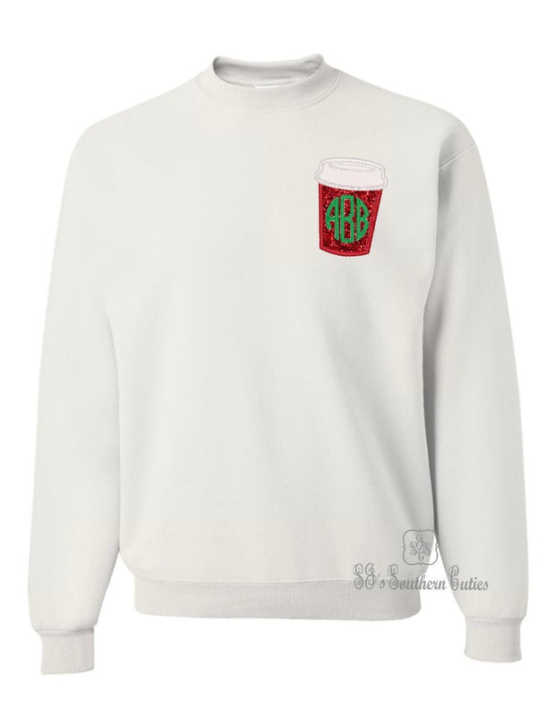 Monogrammed Coffee Cup Sweatshirt