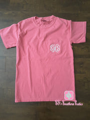 Monogrammed Comfort Colors Pocket Tee Shirt - SJ's Southern Cuties