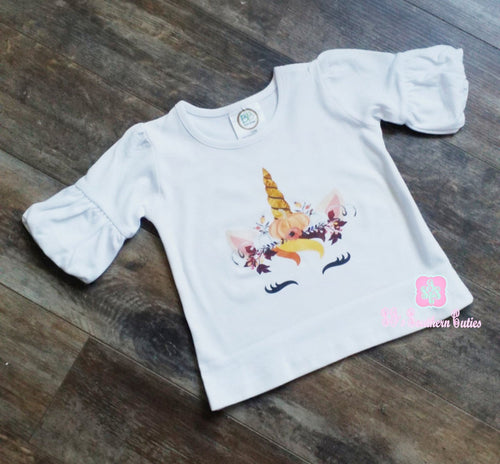 Monogrammed Unicorn Pumpkin Crown Ruffle Shirt