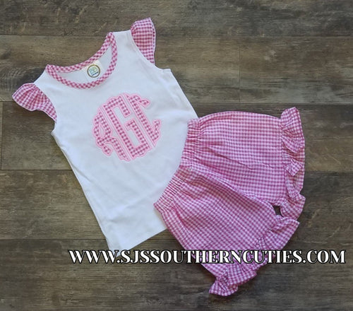 Monogrammed Applique Gingham Flutter Shirt with matching Shorts