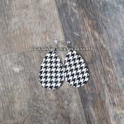 Monogrammed Faux Leather Houndstooth Earrings - SJ's Southern Cuties