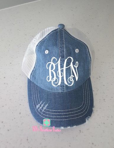 Personalized Distressed Denim Mesh Hat
