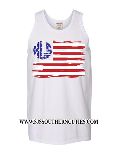 Monogrammed Distressed Flag Graphic Tank