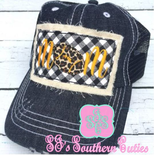 Football Mom Patch Denim Trucker Hat