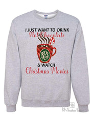 Monogrammed Hot Chocolate & Christmas Movies Sweatshirt