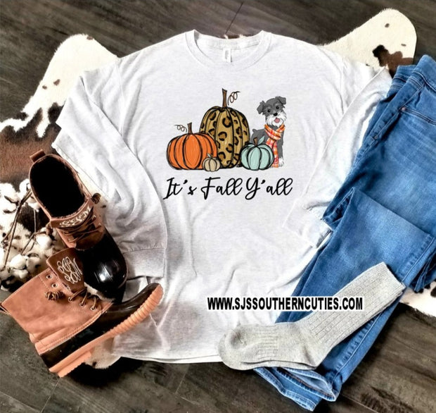 It's Fall Y'all T-Shirt with dog and pumpkins
