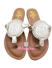 Monogrammed Kid's TAN with Gold Trimming Disc Sandals - SJ's Southern Cuties