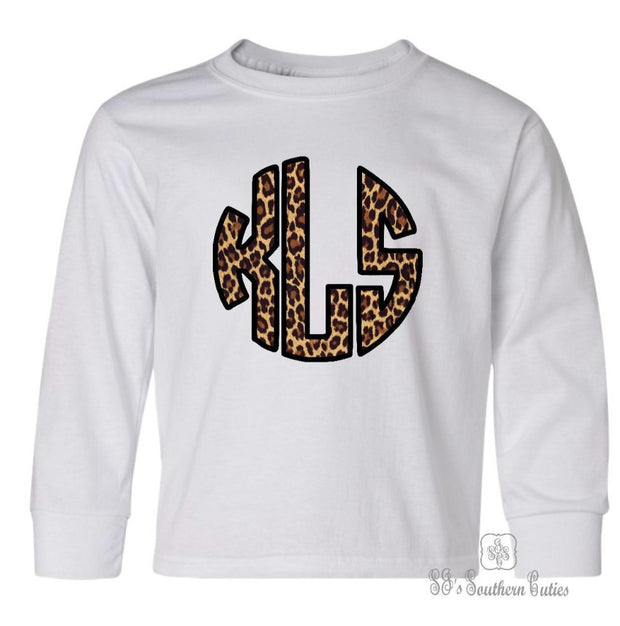 Monogrammed Leopard Youth Long Sleeve Shirt