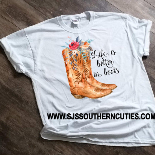 Floral Boots Graphic Shirt