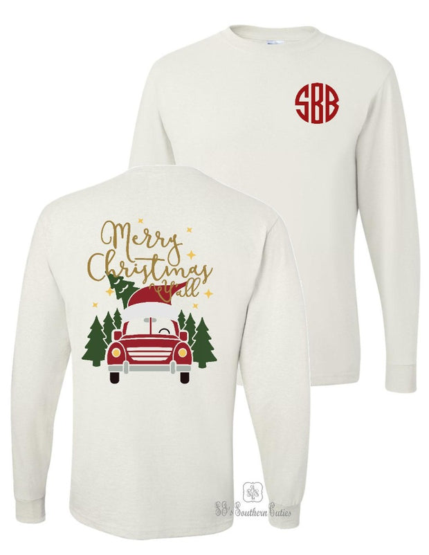 Monogrammed Merry Christmas Y'all Long Sleeve Shirt
