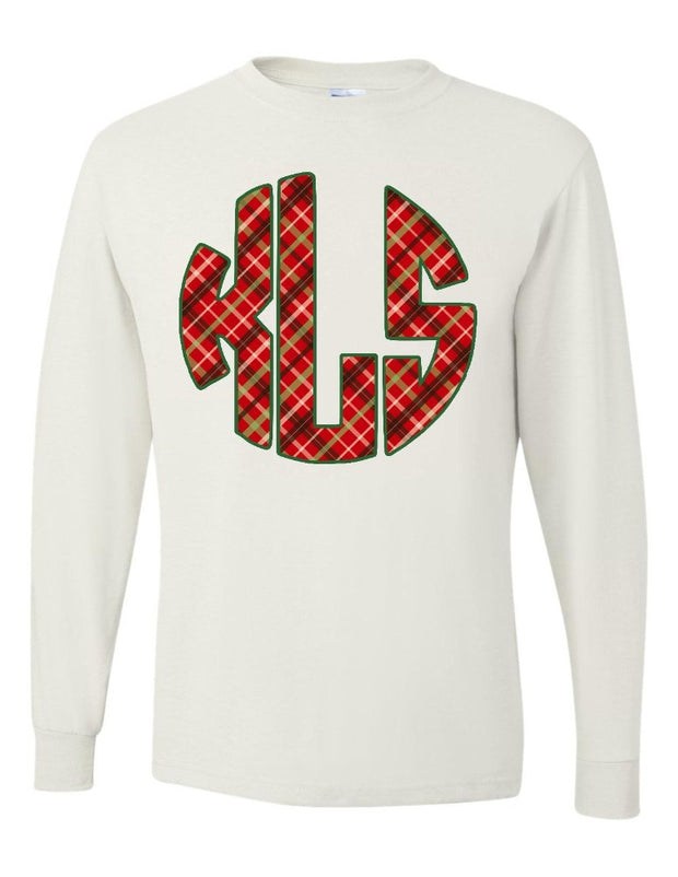 Monogrammed Merry and Plaid Long Sleeve Shirt