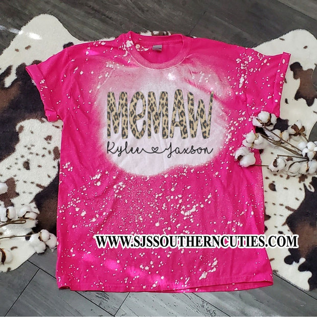 Personalized Mom Bleached Shirt