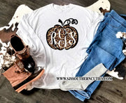 Monogrammed Leopard Print Pumpkin Youth Shirt