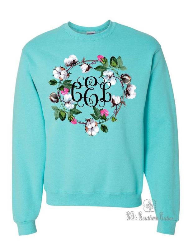 Monogrammed Cotton Wreath Sweatshirt