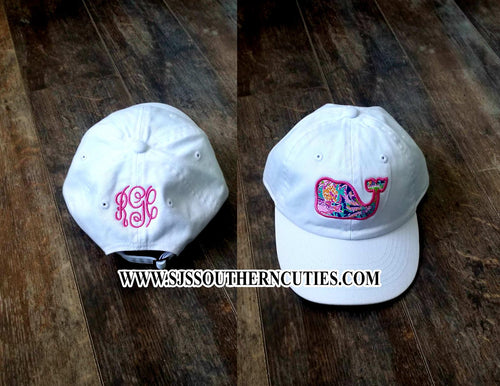 Monogrammed Whale Applique Hat