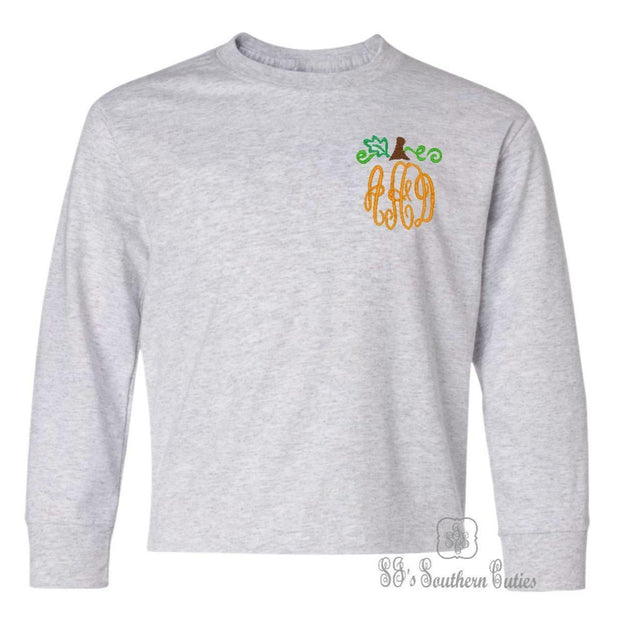 Pumpkin Monogrammed Toddler Long Sleeve Shirt