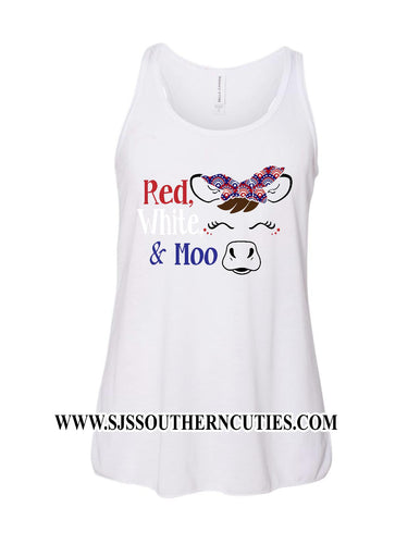 Red, White, & Moo Cow Tank for Girls