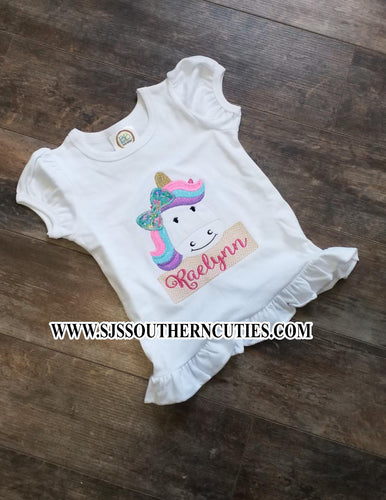 Personalized Unicorn Ruffle Shirt
