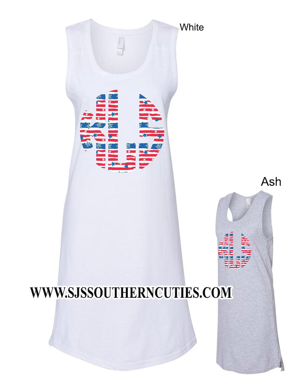 Monogrammed Flag Tank Cover Up Dress - SJ's Southern Cuties