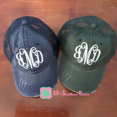 Distressed Monogrammed Mesh Hat