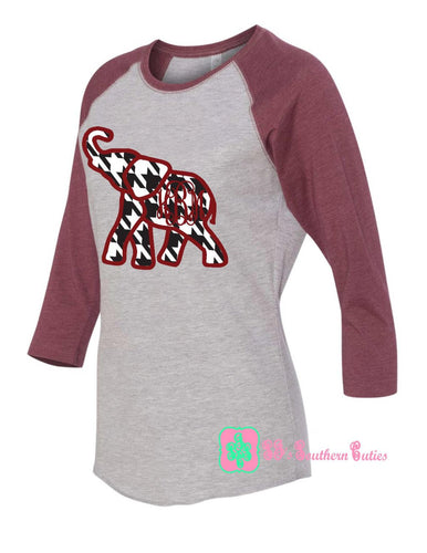 Youth Monogrammed Alabama Elephant Raglan