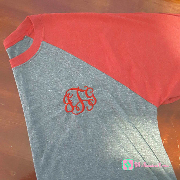 Monogrammed Tri-Blend Raglan Tee 3/4 Sleeve Baseball Tee Plus Sizes - SJ's Southern Cuties