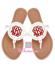 Monogrammed White Disk Sandals - SJ's Southern Cuties
