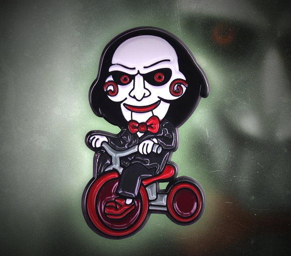 Billy The Saw Puppet On Tricycle Enamel Pin - Jigsaw