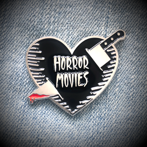"""Horror Movies"" Knife and Heart Enamel Pin"