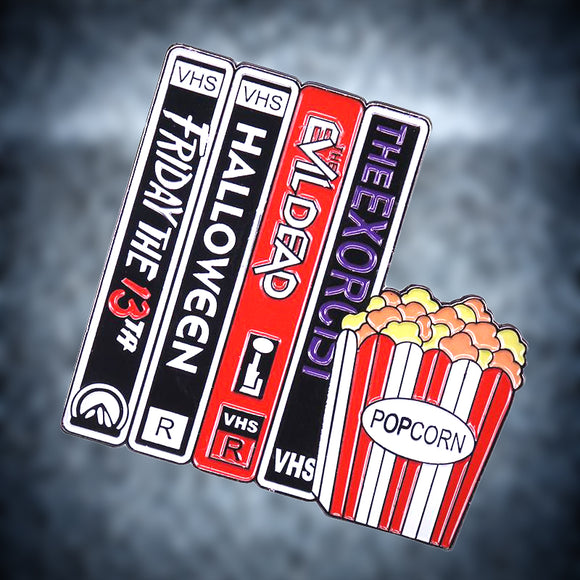 Horror Movie VHS & Popcorn Pin