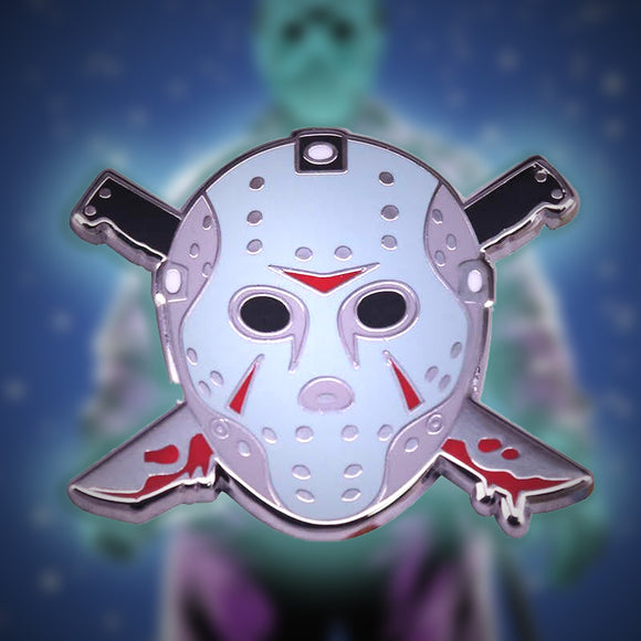 Friday The 13th Jason Voorhees Enamel Pin - Hockey Mask & Machetes