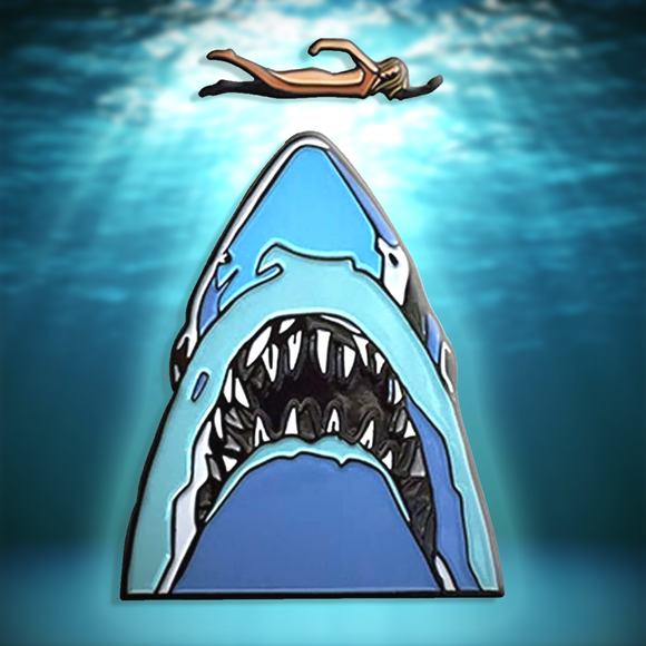 Jaws Movie Midnight Swim Shark 2 Piece Enamel Metal Logo Pin