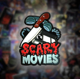 Scary Movies Enamel Pin - VHS Phone & Knife