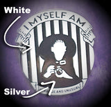 I Myself Am Strange And Unusual - Lydia Deetz Silver & White Pin - Beetlejuice