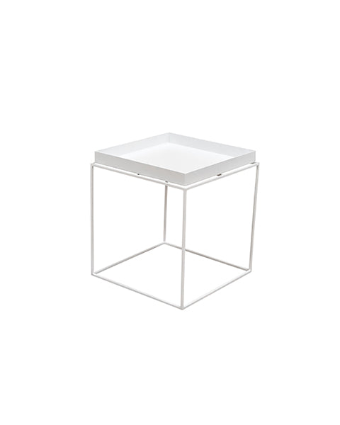 Mesa Lateral Cooper Blanca 40 x 40 cm | Side Table Cooper White 40 x 40 cm